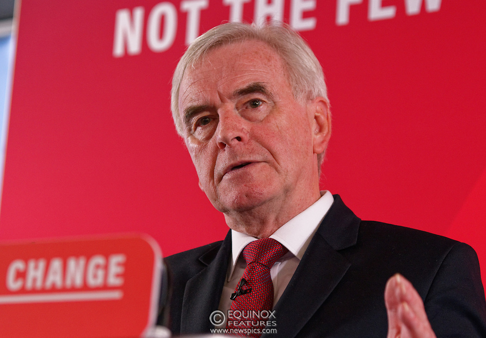 London, United Kingdom - 9 December 2019<br /> John McDonnell gives an economics speech in the run up to the general election 2019, on behalf of the Labour Party at Coin Street Community Builders, London, England, UK.<br /> (photo by: EQUINOXFEATURES.COM)<br /> Picture Data:<br /> Photographer: Equinox Features<br /> Copyright: ©2019 Equinox Licensing Ltd. +443700 780000<br /> Contact: Equinox Features<br /> Date Taken: 20191209<br /> Time Taken: 11325554<br /> www.newspics.com