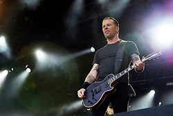 Singer James Hetfield of Metallica plays the main stage at the Download Scotland festival at Glasgow Green, Glasgow on 2/06/2004.