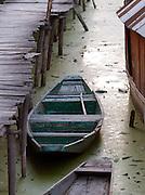 Wooden boat in Lake Dal, Kashmir, India