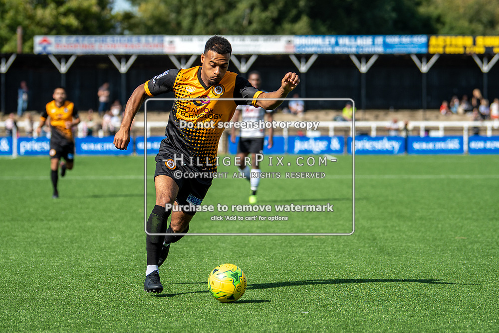 BROMLEY, UK - SEPTEMBER 08: Jerome Federico, of Cray Wanderers FC, during the Emirates FA Cup First Qualifying Round match between Cray Wanderers FC and Bedfont Sports Club at Hayes Lane on September 8, 2019 in Bromley, UK. <br /> (Photo: Jon Hilliger)