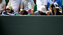 01.07.2014, All England Lawn Tennis Club, London, ENG, WTA Tour, Wimbledon, Tag 8, im Bild Japanese spectators look bored and fall asleep as they wait for the men's 4th round //during day 8 the Wimbledon Championships at the All England Lawn Tennis Club in London, Great Britain on 2014/07/01. EXPA Pictures © 2014, PhotoCredit: EXPA/ Propagandaphoto/ David Rawcliffe<br /> <br /> *****ATTENTION - OUT of ENG, GBR*****