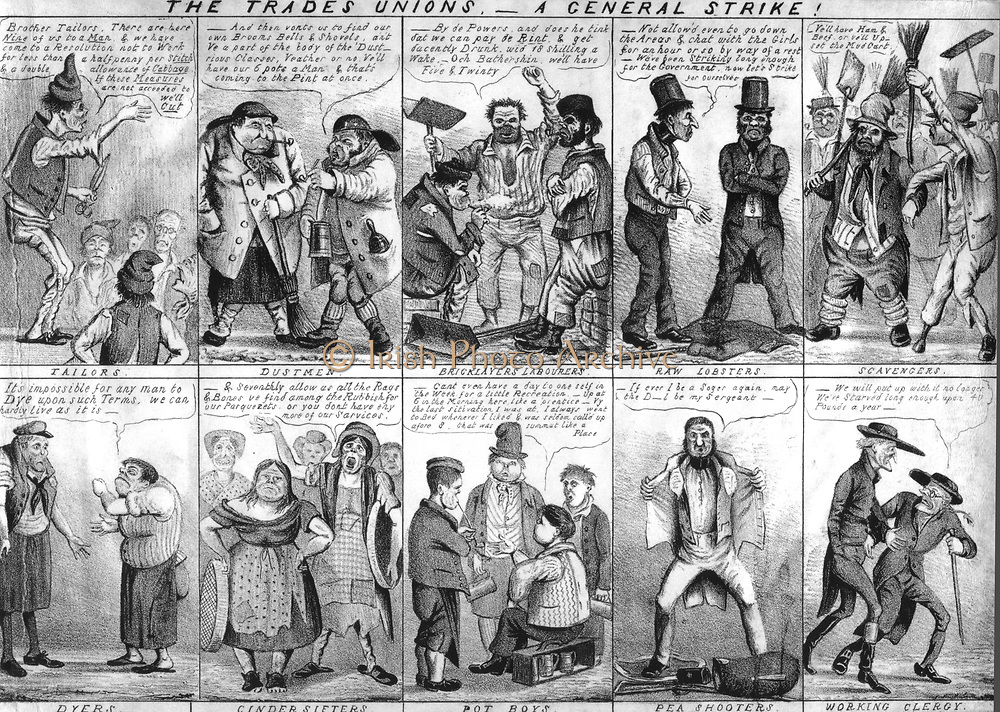 Satirical view of Trade Unions and their demands from tailors and bricklayers to police and clergy. Lithograph 1830s.