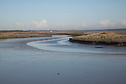 Mud at low tide in creek of River Ore, inland of Orford Ness, near Shingle Street, Hollesley, Suffolk, England