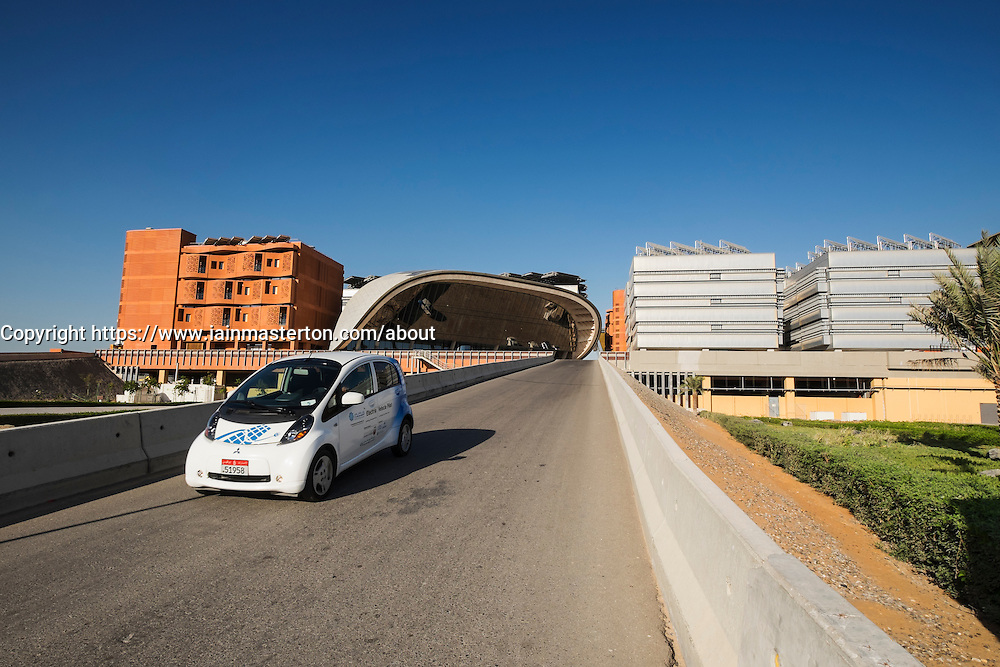 Electric car at  Institute of Science and Technology at Masdar City in Abu Dhabi United Arab Emirates
