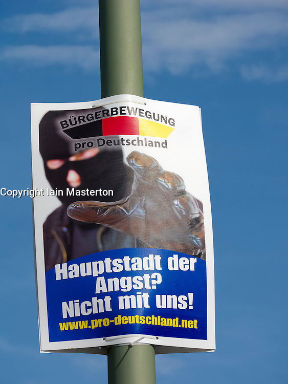 party political election poster by pro Germany Citizens' Movement Party in Berlin Germany before elections on 18 September 2011