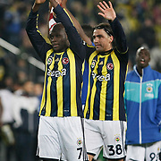 Fenerbahce's Moussa Sow (L) and Mehmet Topuz (R) celebrate victory during their Turkish superleague soccer match Fenerbahce between Sivasspor at the Sukru Saracaoglu stadium in Istanbul Turkey on Saturday 18 February 2012. Photo by TURKPIX