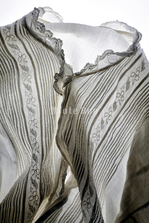 antique linen shirt with a floral design
