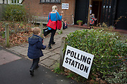 South Londoners arrive to vote at St. Barnabas community hall in Dulwich Village in the south London borough of Southwark, serving as a polling station for the UKs General Election 2 weeks before Christmas, on 12th December 2019, in London, England.