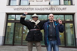 © Licensed to London News Pictures. 20/03/2017. LONDON, UK.  Stephen Dawe and Archit Ssan from New Fathers for Justice arrive at Westminster Magistrates Court in London accused of scaling St Paul's Cathedral. Stephen Dawe and Archit Ssan are charged with obstruction, aggravated trespass and criminal damage following a protest where they scaled St Paul's Cathedral stone gallery. Photo credit: Vickie Flores/LNP