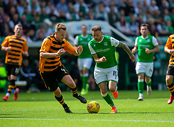Alloa Athletic's Scott Taggart and Hibernian's Martin Boyle. Half time : Hibernian 0 v 0 Alloa Athletic, Betfred Cup game played Saturday 20th July at Easter Road, Edinburgh.