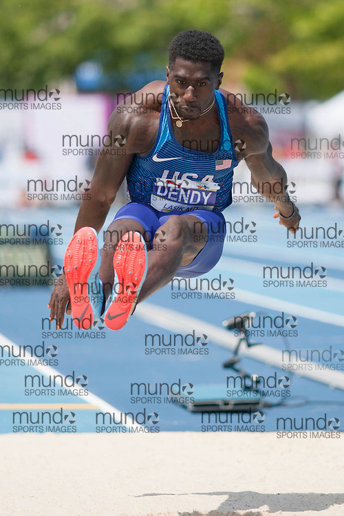 Toronto, ON -- 12 August 2018: Marquis Dendy (USA), long jump at the 2018 North America, Central America, and Caribbean Athletics Association (NACAC) Track and Field Championships held at Varsity Stadium, Toronto, Canada. (Photo by Sean Burges / Mundo Sport Images).