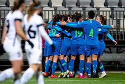 Players of Slovenia celebrate during football match between Slovenia and Estonia in Qualification for UEFA Women's Euro 2022, on December 1, 2020 in Arena Bonifika, Koper, Slovenia. Photo by Matic Klansek Velej / Sportida