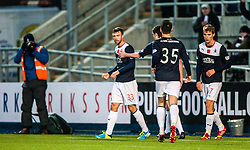Falkirk's Rory Loy celebrates after scoring their second goal.<br /> half time : Falkirk 1 v 0 Livingston, Scottish Championship game played today at the Falkirk Stadium.<br /> ©Michael Schofield.