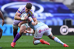 Dave Ewers of Exeter Chiefs is challenged by Bernard Le Roux of Racing 92 - Mandatory by-line: Ryan Hiscott/JMP - 17/10/2020 - RUGBY - Ashton Gate Stadium - Bristol, England - Exeter Chiefs v Racing 92 - Heineken Champions Cup Final
