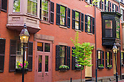 Brick houses and gas street lamps on Beacon Hill, Boston, Massachusetts