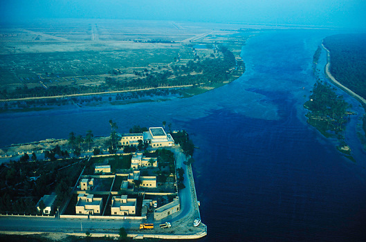 Aerial view of Qurna where the Tigris and Euphrates rivers meet at the legendary site of the Garden of Eden in Southern Iraq