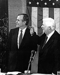 """United States Vice President George H.W. Bush, left, and the Speaker of the US House of Representatives Thomas P. """"Tip"""" O'Neill (Democrat of Massachusetts), right, shortly before the arrival of US President Ronald Reagan who is scheduled to deliver his State of the Union Address to a Joint Session of the US Congress in the US Capitol in Washington, DC, USA, on February 18, 1981. In the speech, Reagan detailed his plan to cut federal spending. Photo by Arnie Sachs / CNP/ABACAPRESS.COM"""