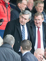 Gordon Brown in the stand. Raith Rovers 1 v 1 Hibernian, Scottish Championship game played 18/2/2017 at Starks Park.