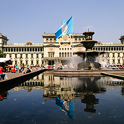 Fountain in front of the National Palace of Culture on the northern end of Parque Central (officially the Plaza de la Constitucion) in the center of Guatemala City, Guatemala.