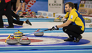 Glasgow. SCOTLAND. Sweden, vice, Osker ERIKSSON uses his brush to signal where to place the stone during the, Le Gruyère European Curling Championship match between Scotland and Sweden at the  2016 Venue, Braehead  Scotland<br /> Sunday  20/11/2016<br /> <br /> [Mandatory Credit; Peter Spurrier/Intersport-images]