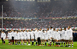 England line up for the anthems<br /> <br /> Photographer Simon King/Replay Images<br /> <br /> Six Nations Round 3 - Wales v England - Saturday 23rd February 2019 - Principality Stadium - Cardiff<br /> <br /> World Copyright © Replay Images . All rights reserved. info@replayimages.co.uk - http://replayimages.co.uk