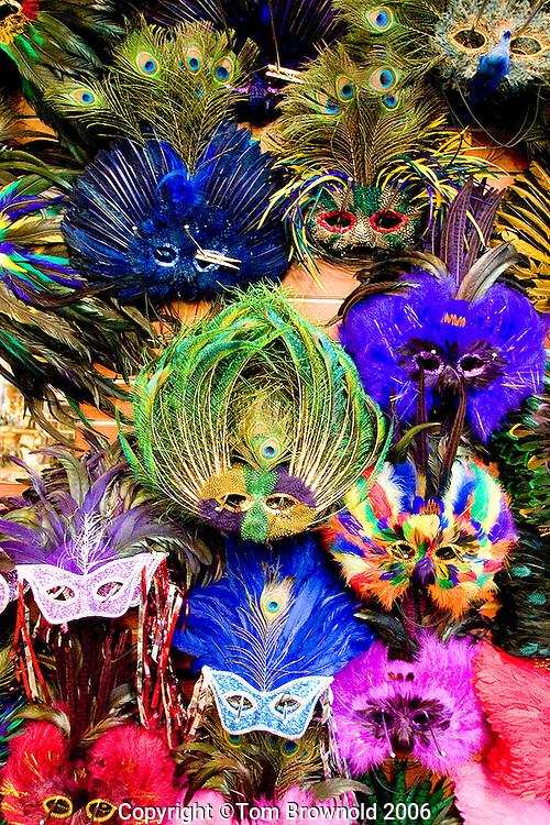 Mardi Gras Masks in a New Orleans, LA. window