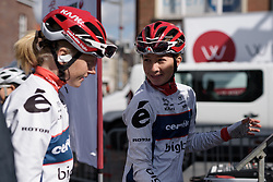 Cecilie Uttrup Ludwig chats to Marie Vilmann as they make their way to the stage at Dwars door Vlaanderen 2017. A 114 km road race on March 22nd 2017, from Tielt to Waregem, Belgium. (Photo by Sean Robinson/Velofocus)
