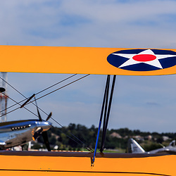 Lancaster, PA, USA - August 22, 2015: Close up of yellow biplane at the Lancaster Airport Community Days air show.