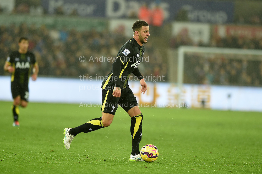 Kyle Walker of Tottenham in action. Barclays Premier League match, Swansea city v Tottenham Hotspur at the Liberty Stadium in Swansea, South Wales on Sunday 14th December 2014<br /> pic by Andrew Orchard, Andrew Orchard sports photography.