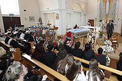 © Licensed to London News Pictures. 21/04/2018. Cobham, UK.  The funeral od Queenie, Elizabeth Doherty takes place at Sacred Heart Church in Cobham, Surrey. Elizabeth Doherty, whose son Paddy Doherty is known for appearing on My Big Fat Gypsy Wedding and winning Celebrity Big Brother 8, died of a heart attack earlier this month. Paddy Doherty claimed his mother has died of a 'broken heart' following the death of her husband almost a year ago. Photo credit: Peter Macdiarmid/LNP