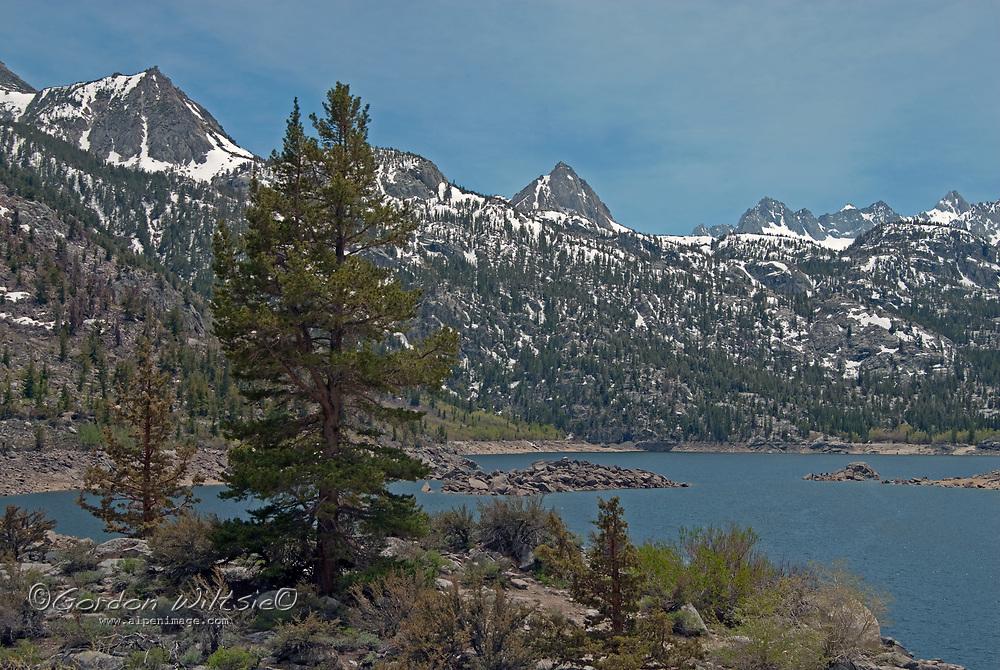 Lake Sabrina spreads beneath the Eastern Sierra Nevada crest, near Bishop, California.