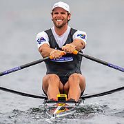 Robbie Manson  , New Zealand elite  Mens Single Scull <br /> <br /> Racing the Semi-Finals at FISA World Rowing Cup III on Saturday 13 July 2019 at the Willem Alexander Baan,  Zevenhuizen, Rotterdam, Netherlands. © Copyright photo Steve McArthur / www.photosport.nz