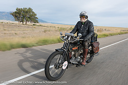 Vern Acres of Ontario, Canada riding his 4-cylinder 1914 Henderson class-2 motorcycle during the Motorcycle Cannonball Race of the Century. Stage-10 ride from Pueblo, CO to Durango, CO. USA. Tuesday September 20, 2016. Photography ©2016 Michael Lichter.