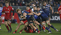 Bath's Miles Reid is tackled by Saracens Mike Rhodes during the Gallagher Premiership match at the Recreation Ground, Bath.