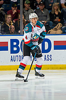 KELOWNA, CANADA - FEBRUARY 15: Devin Steffler #4 of the Kelowna Rockets skates with the puck against the Everett Silvertips  on February 15, 2019 at Prospera Place in Kelowna, British Columbia, Canada.  (Photo by Marissa Baecker/Shoot the Breeze)