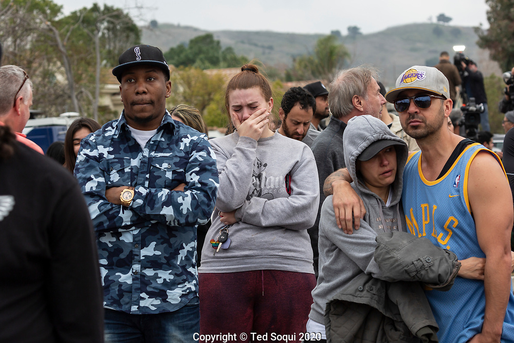 The crash site where basketball great Kobe Bryant along with eight other passengers helicopter passengers crashed and perished in to a hillside near Calabasas, CA. Mourners and fans of Kobe Bryant gathered near the site.<br /> 1/26/2020 Calabasas, CA USA<br /> (Photo by Ted Soqui/SIPA USA)