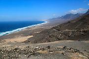 Viewpoint to Cofete beach Atlantic Ocean coast, Jandia peninsula, Fuerteventura, Canary Islands, Spain