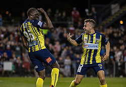 CAMPBELLTOWN, Oct. 12, 2018  Jamaican Olympic gold medalist Usain Bolt (L) of Central Coast Mariners celebrates after scoring during a charity football game between Central Coast Mariners and Macarthur South West United in Campbelltown, Australia, Oct. 12, 2018. Usain Bolt scored his first goals in professional football games on Friday. (Credit Image: © Zhu Hongye/Xinhua via ZUMA Wire)