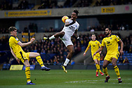 Ivan Toney of Peterborough United back heals the ball into the penalty area during the EFL Sky Bet League 1 match between Oxford United and Peterborough United at the Kassam Stadium, Oxford, England on 16 February 2019.