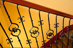 North America, Mexico, Oaxaca Province, Oaxaca, wrought-iron and wood railing, Spanish colonial architecture