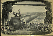 The great cannon Scene design from 'Le voyage dans la Lune' [A Trip to the Moon] is an 1875 opéra-féerie in four acts and 23 scenes by Jacques Offenbach. Loosely based on the 1865 novel From the Earth to the Moon by Jules Verne, its French libretto was by Albert Vanloo, Eugène Leterrier and Arnold Mortier.[