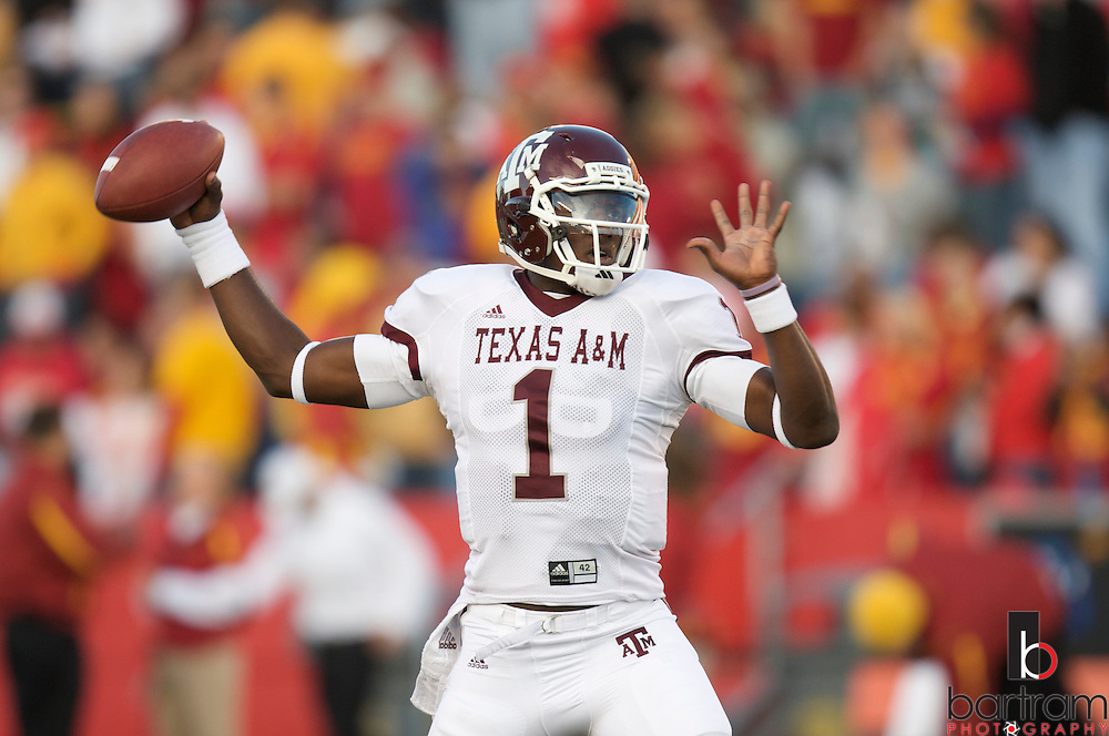 Quarterback Jerrod Johnson warms up before Texas A&M plays at Iowa State on Saturday, Oct. 25, 2008 in Ames, Iowa.