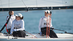 10.08.2012, Bucht von Weymouth, GBR, Olympia 2012, Segeln, im Bild .Skudina Ekaterina, Oblova Elena, Syuzeva Elena, (RUS, Match Race) // during Sailing, at the 2012 Summer Olympics at Bay of Weymouth, United Kingdom on 2012/08/10. EXPA Pictures © 2012, PhotoCredit: EXPA/ Juerg Kaufmann ***** ATTENTION for AUT, CRO, GER, FIN, NOR, NED, .POL, SLO and SWE ONLY!