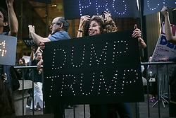 October 19, 2016 - New York, NY - Pussy-grabber protest at Trump Tower, 725 5th Ave, New York, USA on 19th October 2016. The protest held before the final presidential debate. (Credit Image: © Karla Ann Cote/NurPhoto via ZUMA Press)