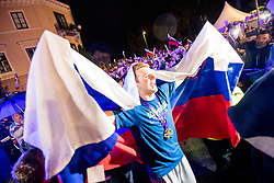 Luka Doncic with flag during Reception of Slovenian national baskteball team with Gold medal from Eurobasket 2017 - Istanbul and Slovenian women's U23 volleyball team with Silver medal from Women's U23 World Championships - Ljubljana, on September 18, 2017 in Kongresni trg, Ljubljana, Slovenia. Photo by Matic Klansek Velej / Sportida