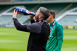 (Free to use courtesy of Sky Bet) Manager Ryan Lowe as Plymouth Argyle celebrate promotion to League One after the curtailment of the regular season due to the Covid-19 pandemic - Rogan/JMP - 01/07/2020 - Home Park - Plymouth, England - Sky Bet League 2.