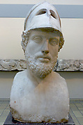 Marble portrait bust of Perikles. Tivoli, Italy. 2nd century BC Roman copy of an earlier Greek original. Perikles (died 429 BC) led the democracy of Athens at the height of the city's power and influence.