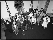 Galway Travellers Visit U.S.Embassy.    (N67)..1981..01.04.1981..04.01.1981..1st April 1981..Elizabeth,the wife of American Ambassador Mr William Shannon,invited a group of Galway travellers to afternoon tea at the residence in Phoenix Park, Dublin...Image shows the members of the Galway travelling community meeting with Mrs Elizabeth Shannon in the foyer of the U S Ambassadors residence in Phoenix Park, Dublin.