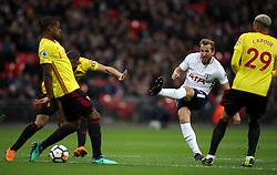 Tottenham Hotspur's Harry Kane has a shot on goal during the Premier League match at Wembley Stadium. London.