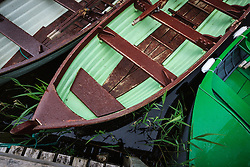 Boats at Ashford Castle, built in 1228 and now a luxury resort, Cong, County Mayo, Ireland